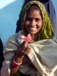 Married woman in a nearby village - she wears the sindoor, the bindi and her head is covered with her palu (2011)